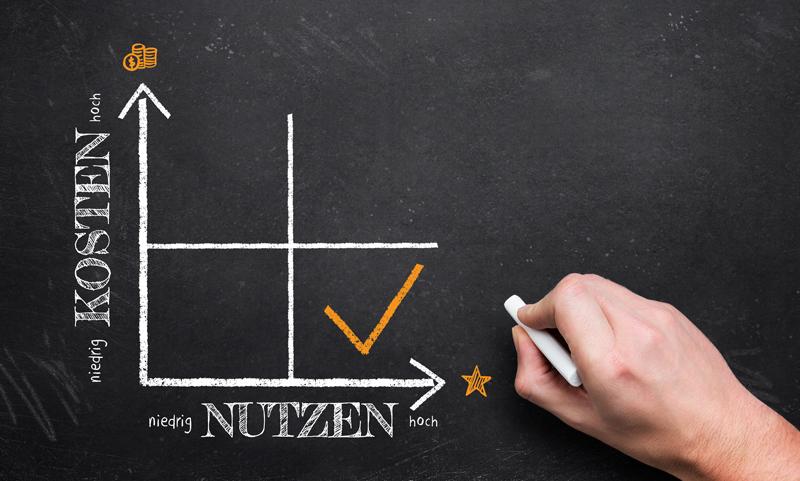 Chart für niedrige Kosten und hohen Nutzen